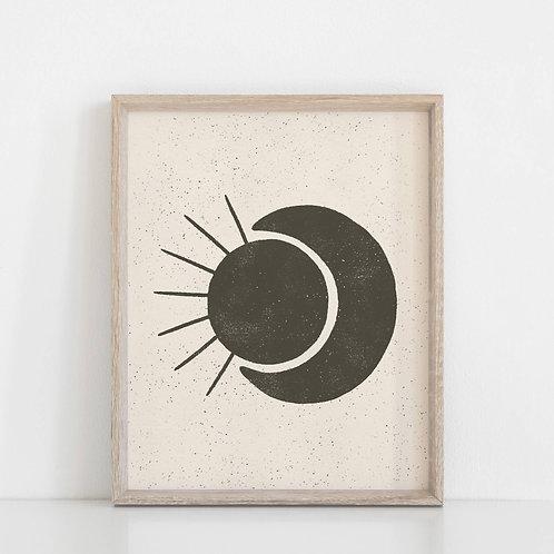 Sun Moon Black Print