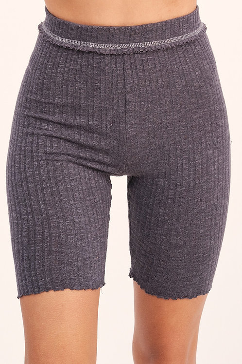 Tori Ribbed Biker Shorts - Charcoal