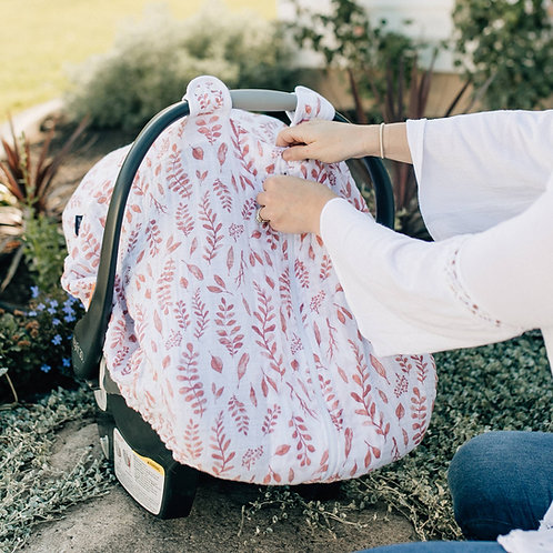 Pink Leaves Muslin Car Seat Cover