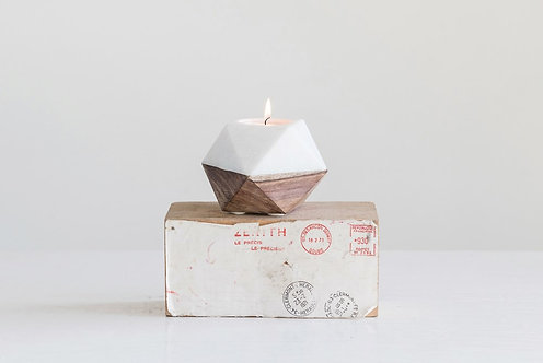 Marble & Mango Wood Candle Holder