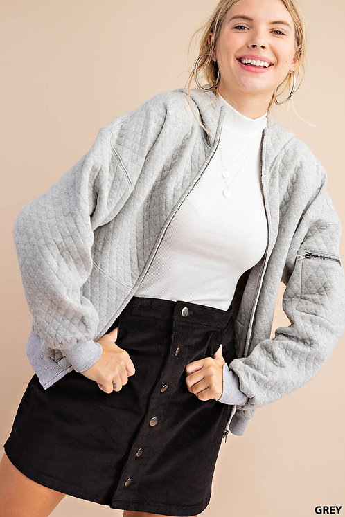 Mina Quilted Hoodie - Gray