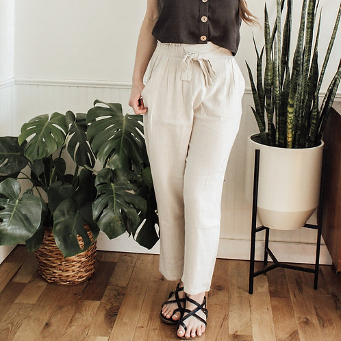Cream Paperbag Pants