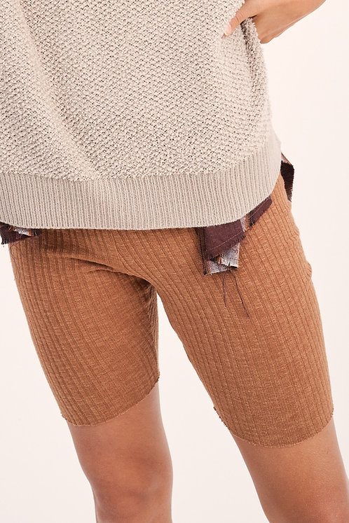 Tori Ribbed Biker Shorts - Camel