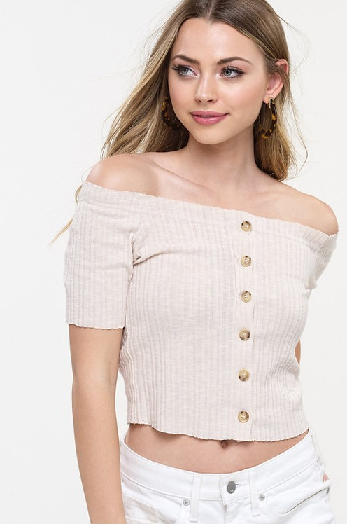 Sophie Off Shoulder Crop in Tan