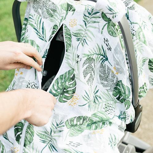 Rainforest Muslin Car Seat Cover