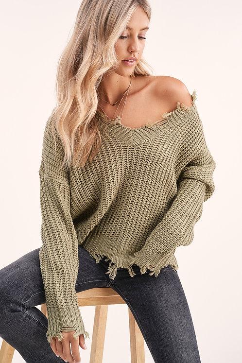 Natalia Raw Edge Sweater - Olive