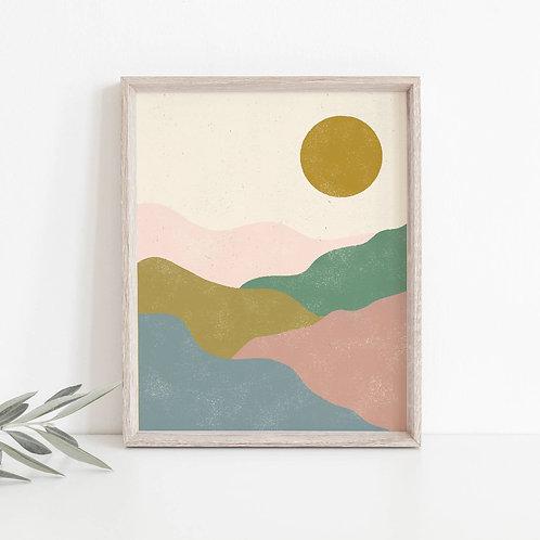 Pastel Hill Landscape Print