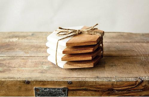 Marble & Mango Wood Coasters