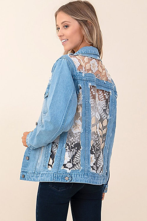 Light Blue Fleur Denim Jacket