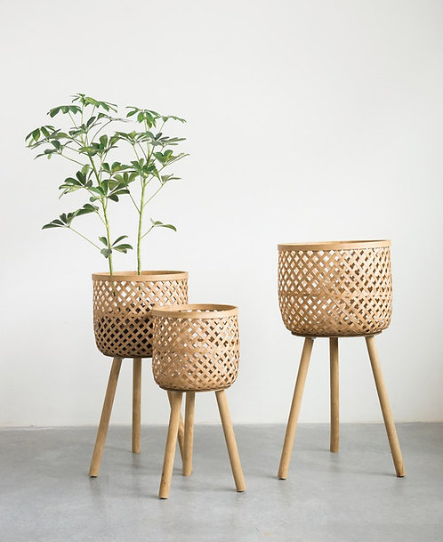 Woven Bamboo Plant Stand