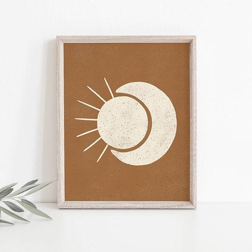 Sun Moon Terra Cotta Print