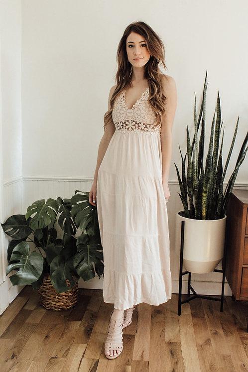 Eden Boho Maxi Dress in Cream