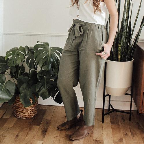 Olive Paperbag Pants