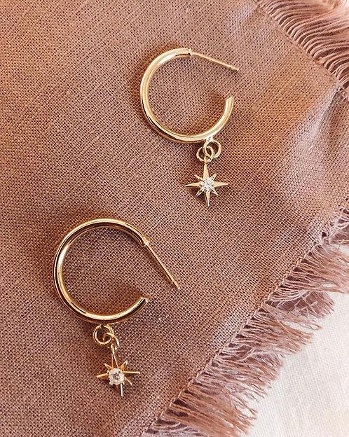 Dainty Star Diamond Huggies Earrings