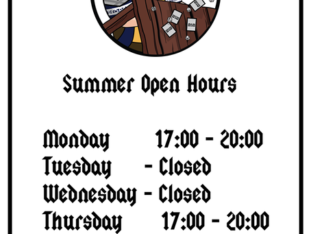 NEW SUMMER OPENING HOURS!