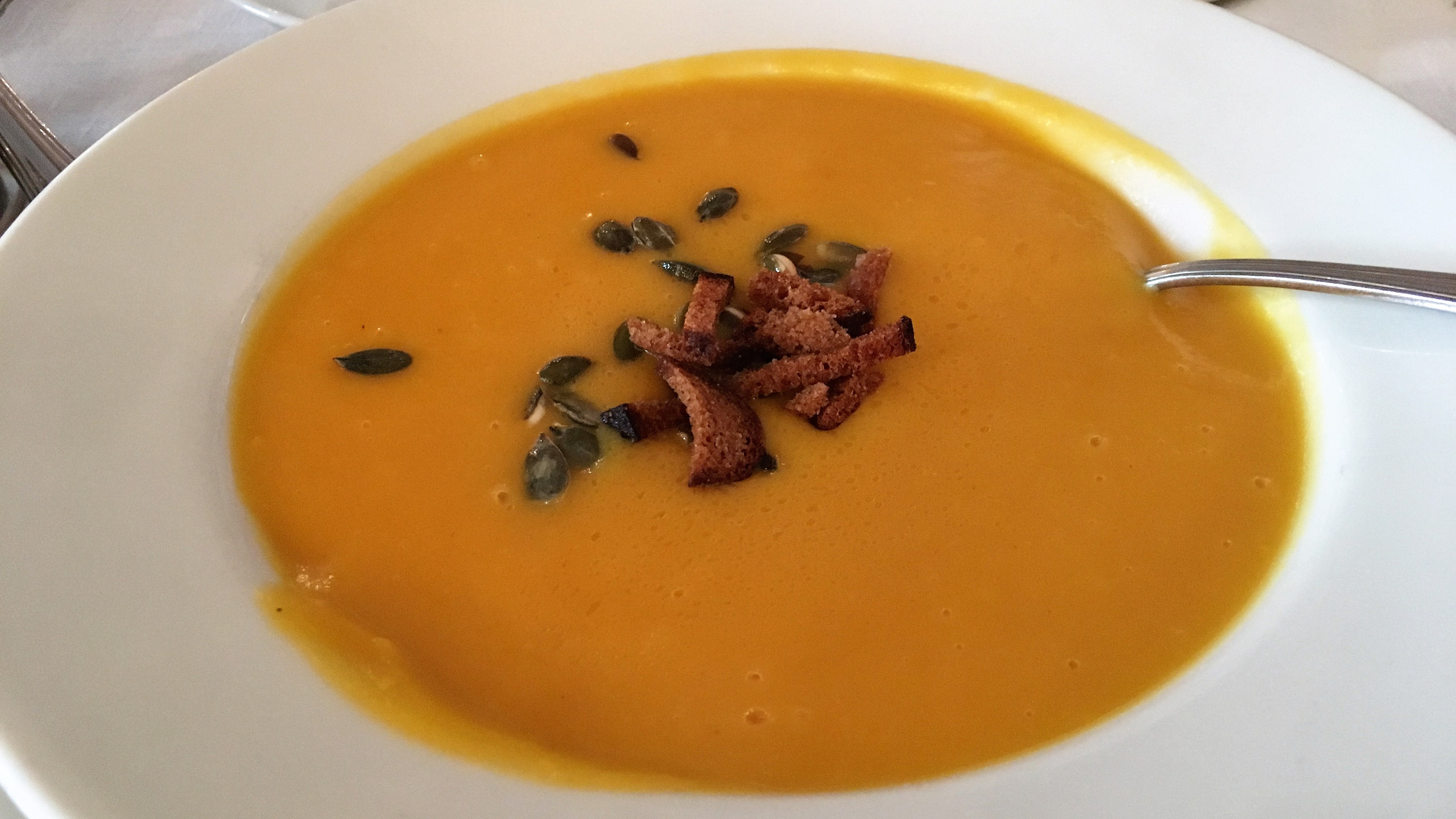 Pumpkin soup with truffle oil.