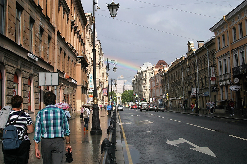 A rainbow over the streets of St. Petersburg.