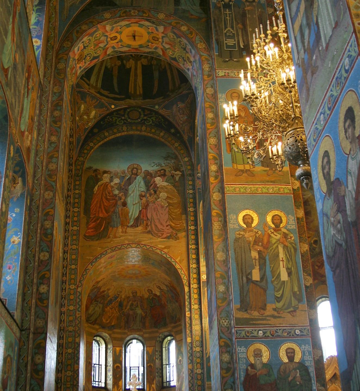 The church's mosaic interior.