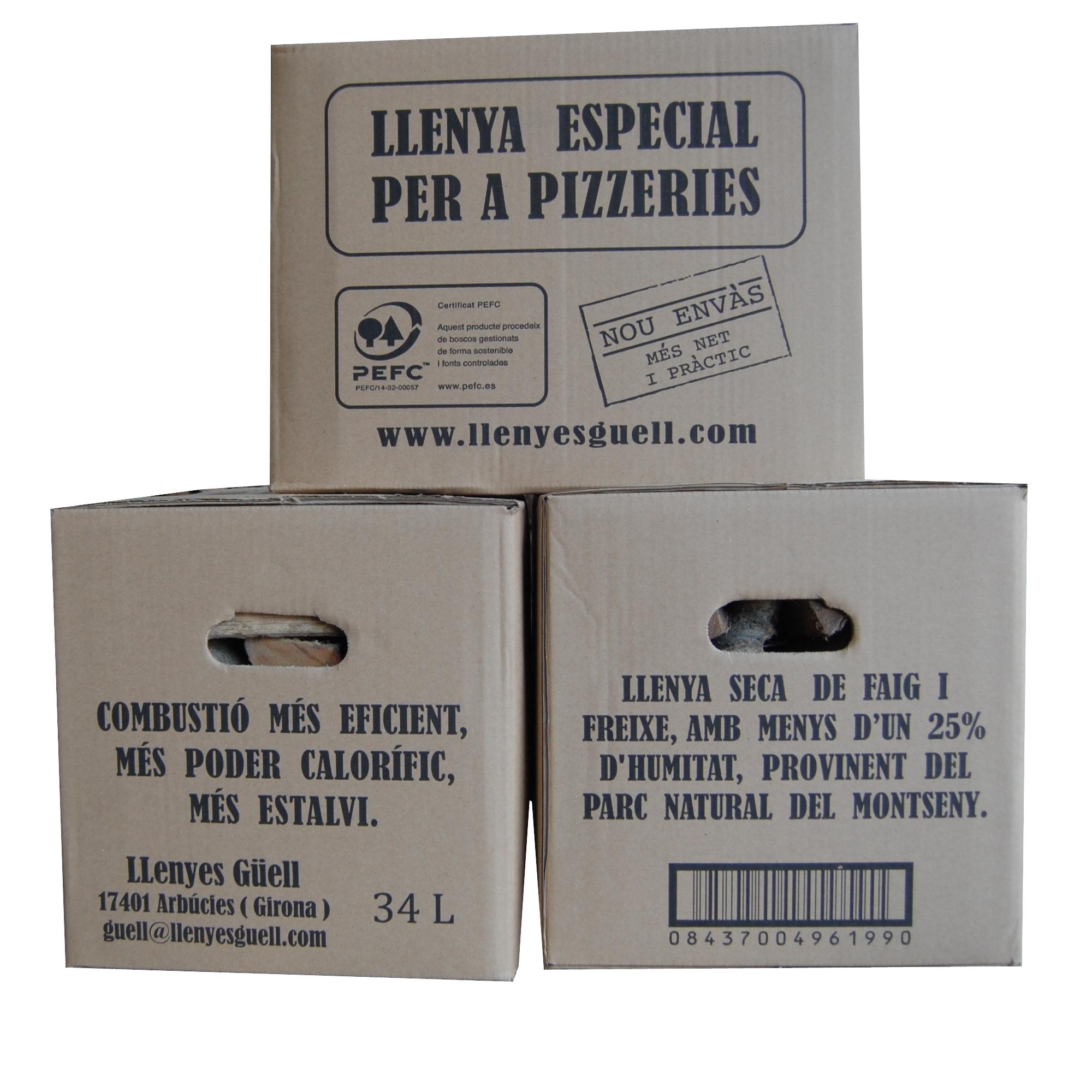 Llenya en caixa per a pizzeries