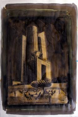 Nefilim 2007, charcoal, acrylic on p