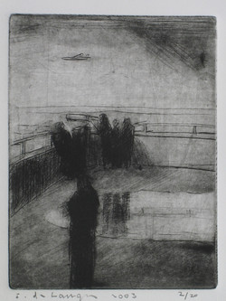 The visit 2003 –dry point –30x25cm