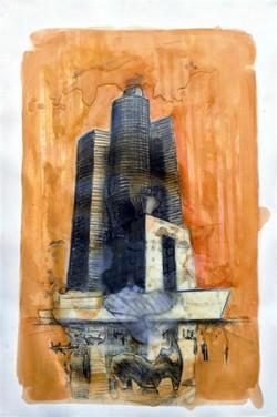 Nefilim 2007, charcoal, wax and acry