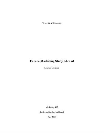 Europe Marketing Study Abroad Final Report