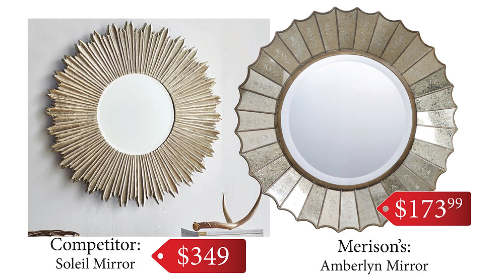 Check out our stylish mirror with an antique finish around the edges!