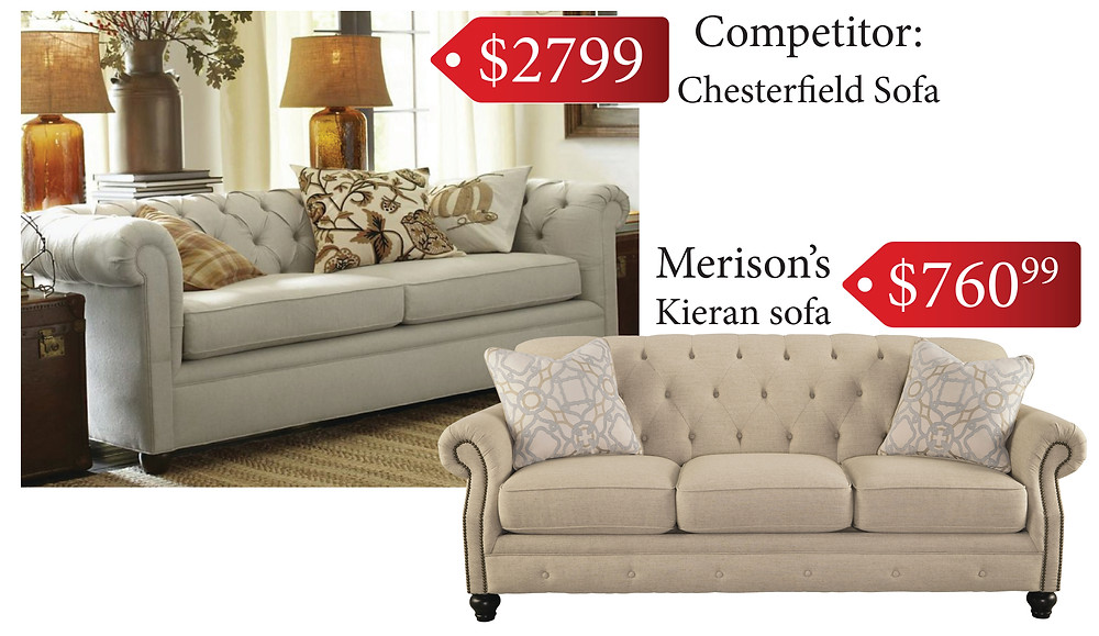 Get comfy with the price on this Kieran sofa from Merison's.