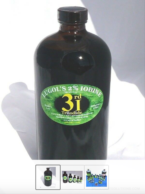 3rdi 2.2% Lugol's Solution Iodine/Iodide 2.8mg/Drop 1-Liter BOTTLE 100ml