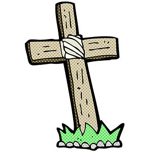 comic-cartoon-wooden-cross-grave-vector-