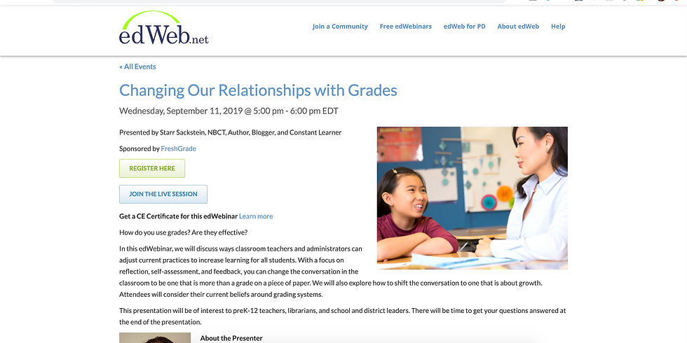 Changing Our Relationship with Grades Webinar