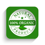 100% Organic product label in green.