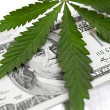 A marijuana leaf over money.