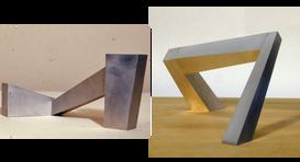 """Three Part I, 1968 Aluminum 3.75"""" H x 9"""" W x 3"""" D  Three Part II, 1969 Aluminum 4"""" H x 9.5"""" W x 3.75"""" D"""