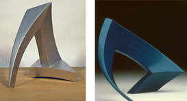 """Aesthetic weapon, 1968-1969 Laquered Bronze 8.5"""" H x 7.75"""" W x 5.75"""" D  Cala, 1970 Lacquered Bronze 7.5"""" H x 9.5"""" W x 8"""" D"""