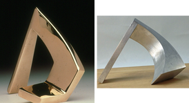 """Wooddrift, 1971 Bronze  6"""" H x 7"""" W x 3"""" D  Twist of Fate, 2012 Aluminum 6.5"""" H x 6"""" W x 9.5"""" D"""