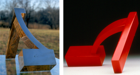 """Once Over, 1970 Bronze 8.5"""" H x 11.5"""" W x 4.5"""" D  Red Arch, 1969 Laquered Aluminum 6.75"""" H x 12"""" W x 10.5"""" D"""