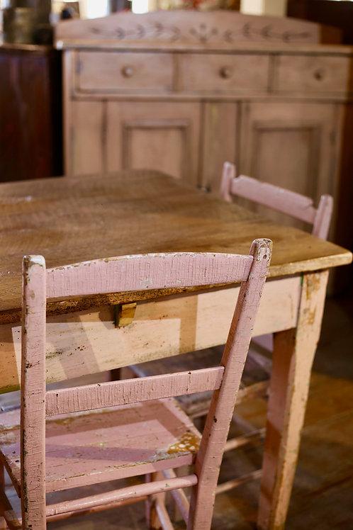 TABLE PRIMITIVE VIEUX ROSE
