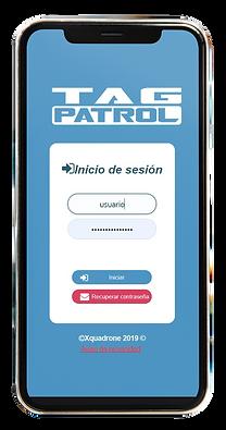 Celular mostrando pantalla principal de Tag Patrol