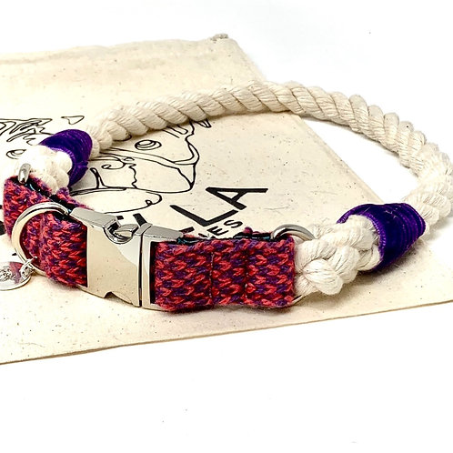Geranium & Purple - Harris Design - Rope Collar