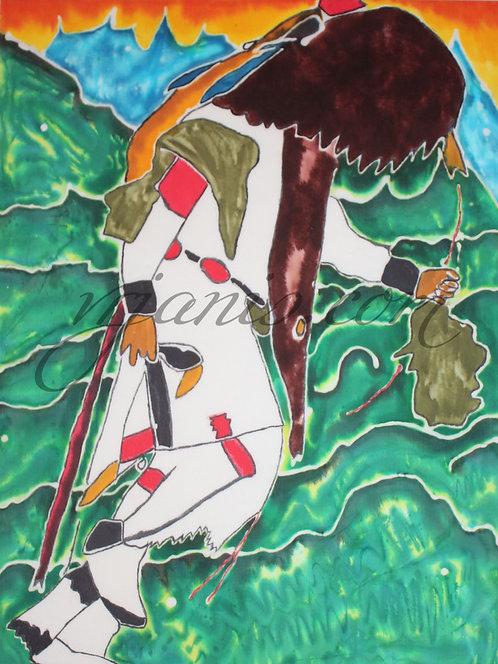 Native American Buffalo Dancer Batik Painting