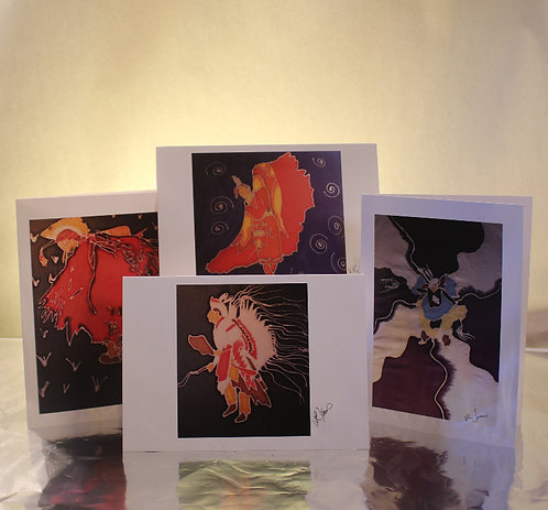 Set of 4 Native American Dancers Greeting Cards