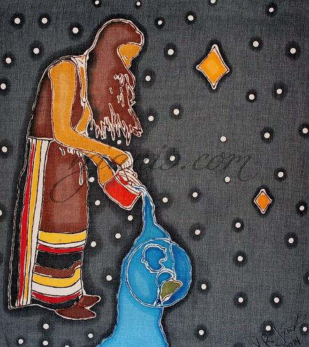 Native American Earth/Water Batik Painting