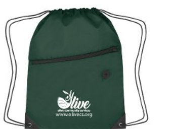 Drawstring sports bag with front zipper