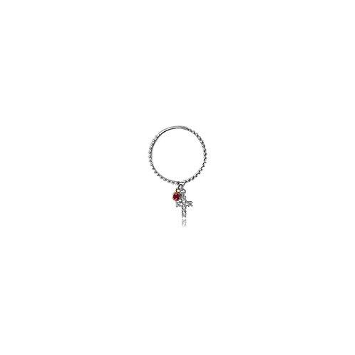 Baby Cross Diamond Pink Sapphire White Gold Ring