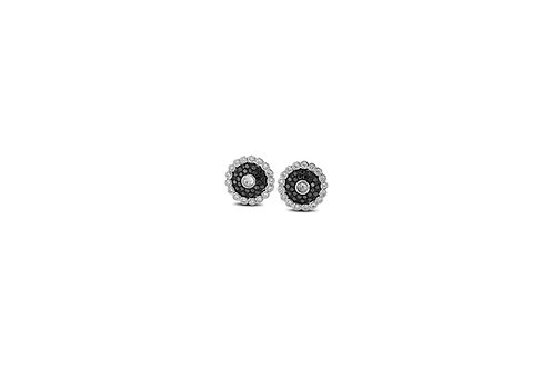 Evil Eye Black and White Diamond White Gold Earrings