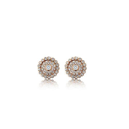 Evil Eye Champagne & White Diamond and Rose Gold Ear Studs