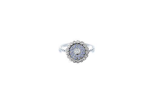 Evil Eye Light Blue Sapphire Diamond White Gold Ring