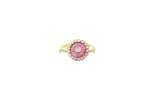 Evil Eye Rose Gold Intense Pink Ring